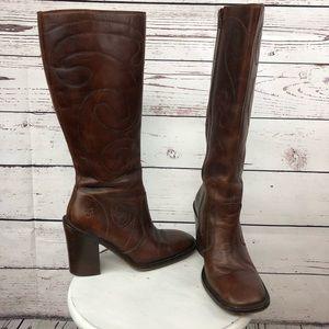 Frye boots 772756 zip up dark brown cognac boots